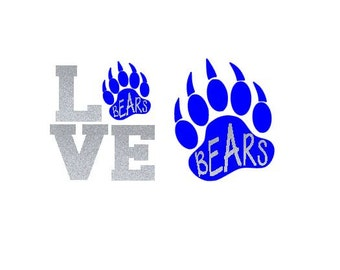 "Bear Paw with Lettering ""Bears"" Team SVG, Studio 3, DXF, EPS, Ps, Ai and Pdf Cutting Files for Electronic Cutting Machines"