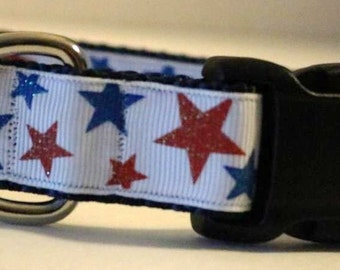 Red and Blue Stars Dog Collar