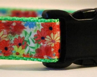 Red Floral Dog Collar