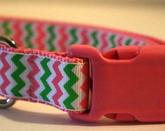 Lime and Pink Chevron Dog Collar