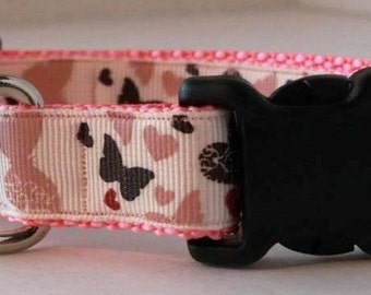 Pink Butterfly Dog Collar