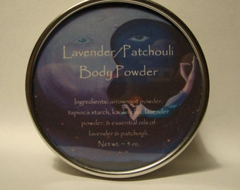 Lavender Patchouli Body Powder, Body Powder, Talc Free Powder, Herbal Body Powder, Powder, Lavender, Patchouli, Dusting Powder