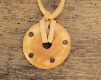 Buffalo bone leather necklace