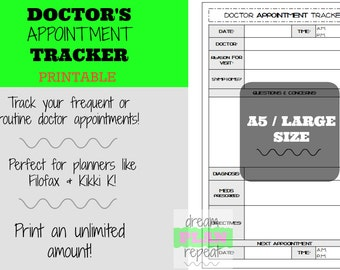 A5 Doctor's Appointment Tracker | PRINTABLE PLANNER INSERTS | for Filofax and Kikki K | DreamPlanRepeat