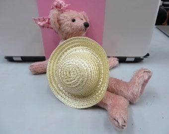 Small Salmon Coloured Mohair Teddy Bear