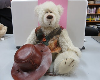 Off-white Mohair Teddy Bear with Leather hat.