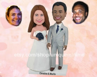 Custom Bobblehead wedding cake topper made from your photos