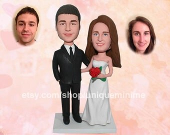 Personalized Wedding Cake Topper - Wedding Bride and Groom silhouette with personalized Initials and Mr&Mrs
