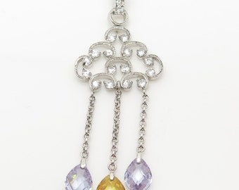 925 Sterling Silver Rainy Day Cloud Cubic Zirconia Raindrops in Purple and Yellow (6.6g)