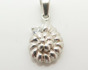 925 Sterling Silver Conch Shell Cubic Zirconia Tiny Sea Pendant (1.3g)