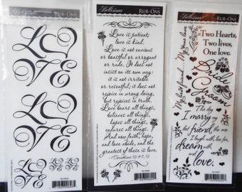 Set of Three Bellisimo Love Bride Groom Rub Ons Sheet Single Sided Acid Free
