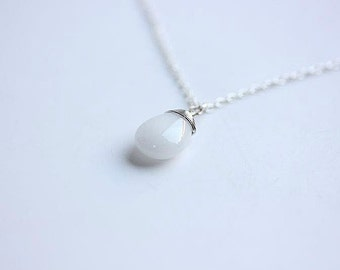 White Jade Necklace in Sterling Silver -  Milk white jade necklace - Wire wrapped jade necklace-Delicate necklace - Everyday necklace