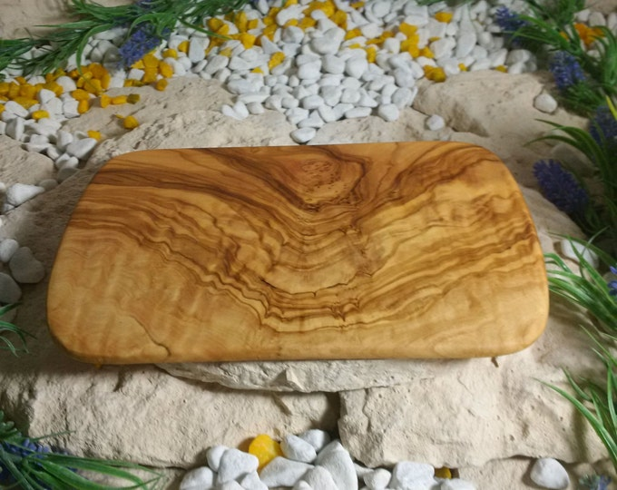 Breakfast Board made of olive wood approx 22 cm Vesper chopping board unique solid hand work