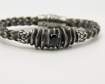 men's leather and steel rocker bracelet registered model