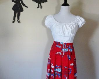 80's/90's Paris Cafe Print Skirt / Novelty Print High Waisted Pleated Skirt XL  tr