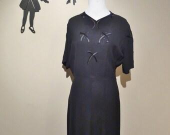 Vintage 1940's Black Dress L/XL