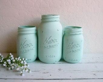 Painted Mint Green Mason Jars / Set of 3 Jars / Country Chic Decor / Wedding Vases / Centerpiece / Mint Mason Jars