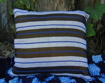 Blue and Copper Hand Woven Pillow Cover
