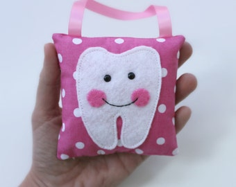 Handmade TOOTH FAIRY PILLOW in pink blue yellow green purple