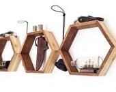 Rustic Geometric Hexagon Shelves - Set of 3 - Hexagon Shelves - Rustic Shelves - Gifts for Women - Gifts for Her - 2 Tone Shelves