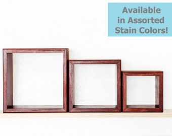 Cube Shelves - Set of 3 Floating Shelves - Custom Made in Your Choice of Stain Color - Nursery Decor - Display Decor