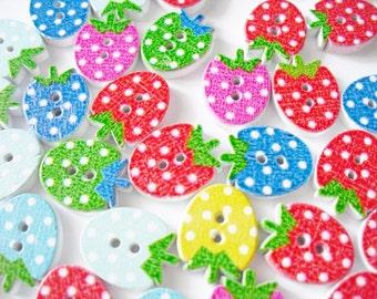 20 PCS button Strawberry Scrapbooking