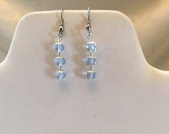 Light Blue Crystal Beaded Pierced Earrings
