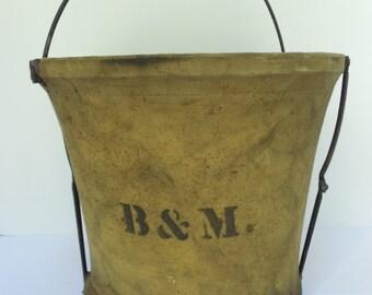 Vintage B and M Boston & Maine Railroad Handy Folding Pail Co Canvas Bucket