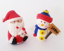 Christmas Cupcake Topper Snowman and Santa  ( set of 2 )