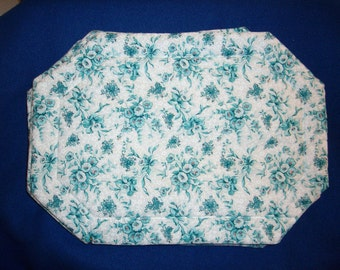 Set of 4 Blue Flowered Placemats