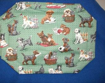 Set of 4 Puppy & Kitten Placemats