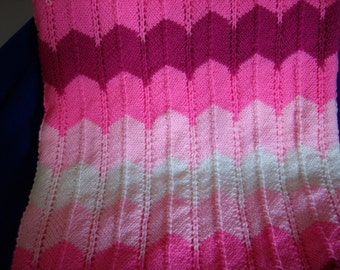 Shades of Pink Knitted Afghan