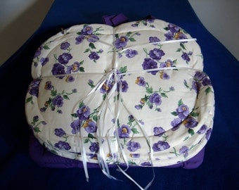 Purple Pansy Placemats & Chairpad Set