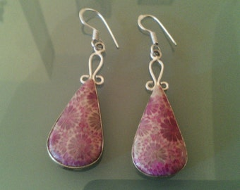 Earrings Stone Chrysocolla & 925 Silver Earrings