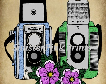 Vintage Twin Lens Camera Tattoo Flash Print