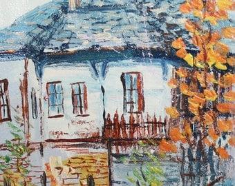 Impressionist country landscape vintage oil painting