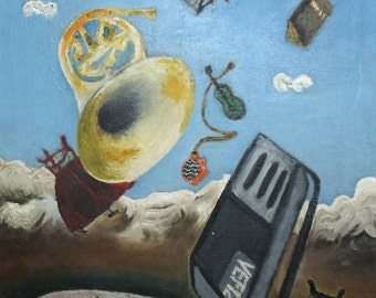 Surrealist avant garde vintage oil painting