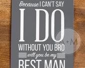 Will You Be My Groomsman, Cards, Best Man, Wedding Party, (Set of 2), 5x7 MIKE Collection GREY