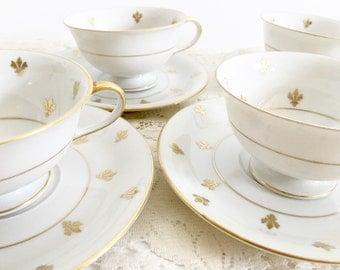 Eschenbach Bavaria Fleur De Lis Teacup - White Teacup with Gold Fleur De Lis