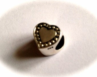 Sterling Silver Decorative Heart Bead