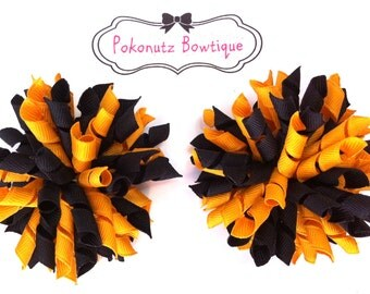 Hair Bows, Korker Hair Bow Set, Korker Hair Bows, Black and Gold Hair Bows, Girls Hair Bows, Toddler Hair Bows, Baby Hair Bows, Steelers Bow