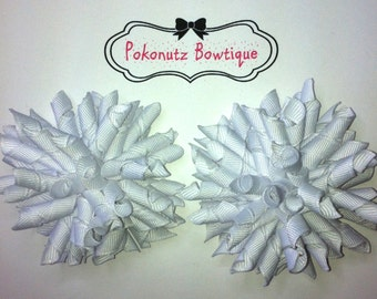 WHITE Korker Hair Bow Set, White Hair Bows, Girls Korker Bows, Baby Hair Bows, Girls white Hair Bows
