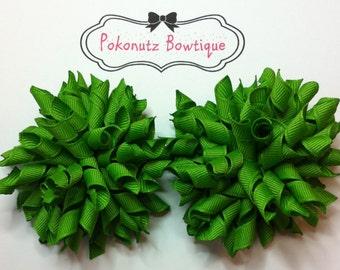 APPLE GREEN Korker Hair Bow Set, Apple Green Hair Bows, Green Korkers, Green Hairbows, Girls Korker Bows, Baby Hair Bows