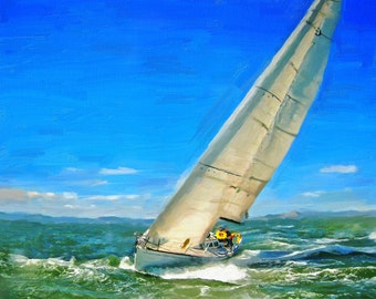 Sailing at Sea Boat Painting Original Oil on Canvas Sea painting Boat painting Print Large boat painting Boat cruising painting Boat Art