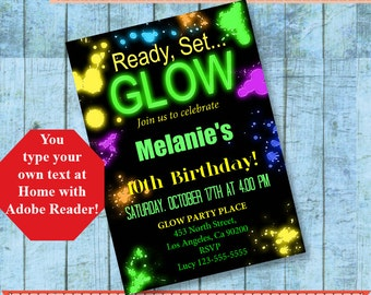 Ready, Set GLOW Invitation, Glow birthday party, Editable invite, Instant Download, type your text & print at home with Adobe Reader A749