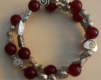 """Unique bracelet """"VENICE"""" - red jade with silver beads"""