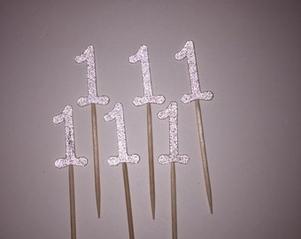 12 Glitter #1 Cupcake Toppers, Birthday Party