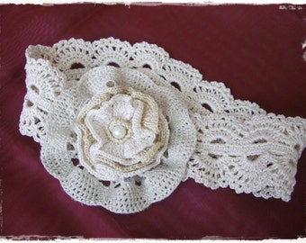 Beige vintage flower-headband for every age