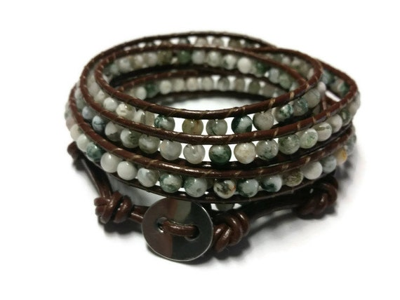 https://www.etsy.com/listing/247884767/white-and-green-beaded-bracelet-brown