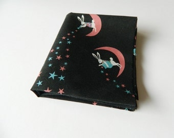 Fat Quarter Of Moon Rabbits From Yuwa Fabrics Of Japan.